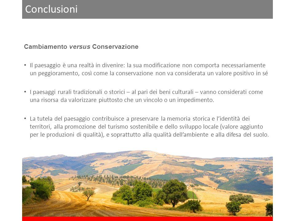 Conclusioni Cambiamento versus Conservazione Il paesaggio è una realtà in divenire: la sua modificazione non comporta necessariamente un peggioramento