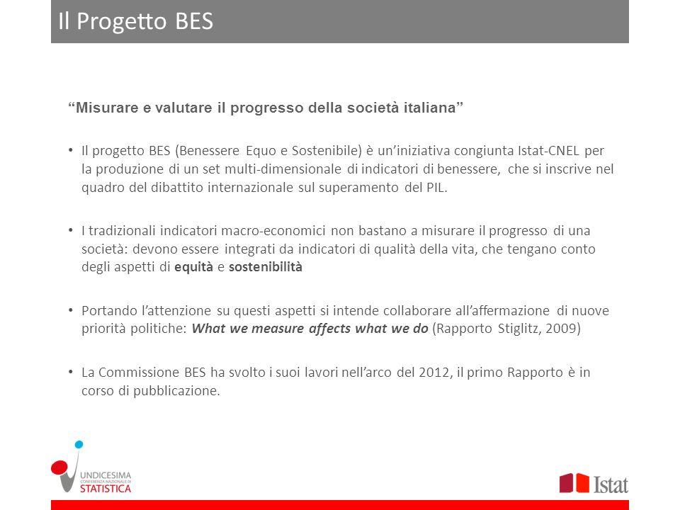 Il Progetto BES Misurare e valutare il progresso della società italiana Il progetto BES (Benessere Equo e Sostenibile) è uniniziativa congiunta Istat-