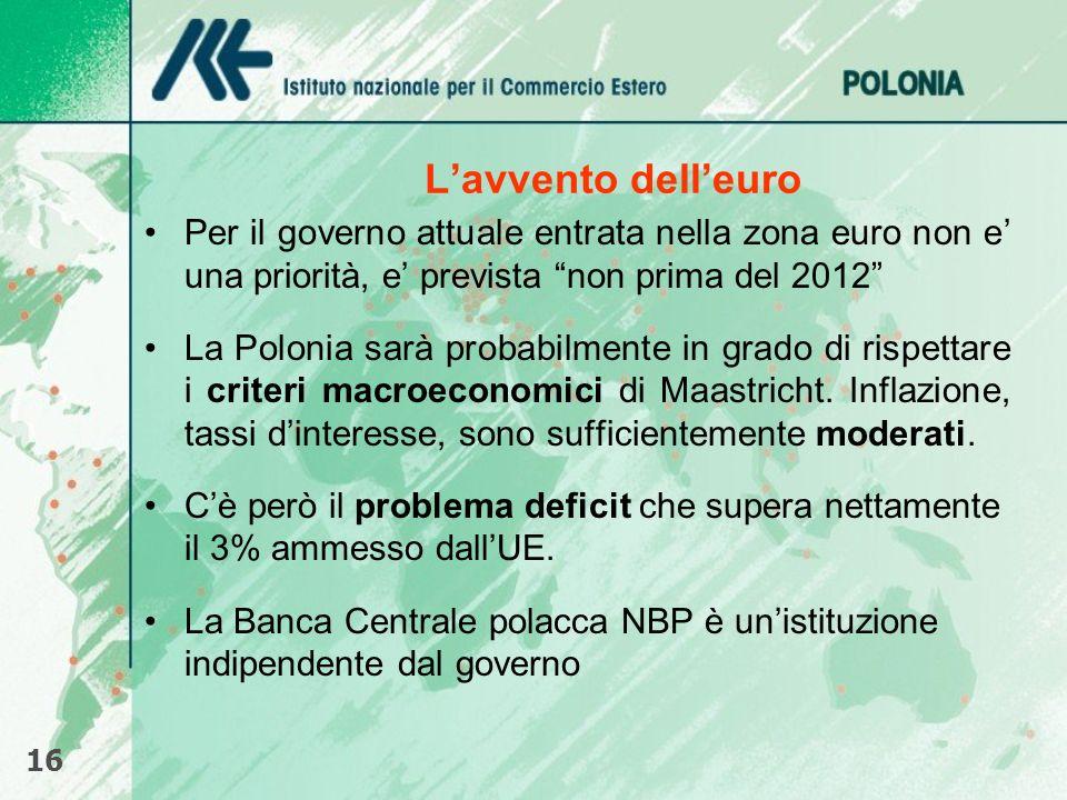 Lavvento delleuro Per il governo attuale entrata nella zona euro non e una priorità, e prevista non prima del 2012 La Polonia sarà probabilmente in gr