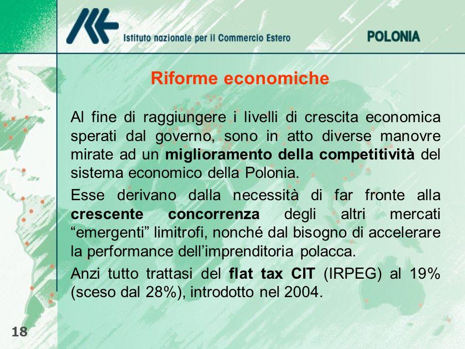 Riforme economiche Al fine di raggiungere i livelli di crescita economica sperati dal governo, sono in atto diverse manovre mirate ad un miglioramento