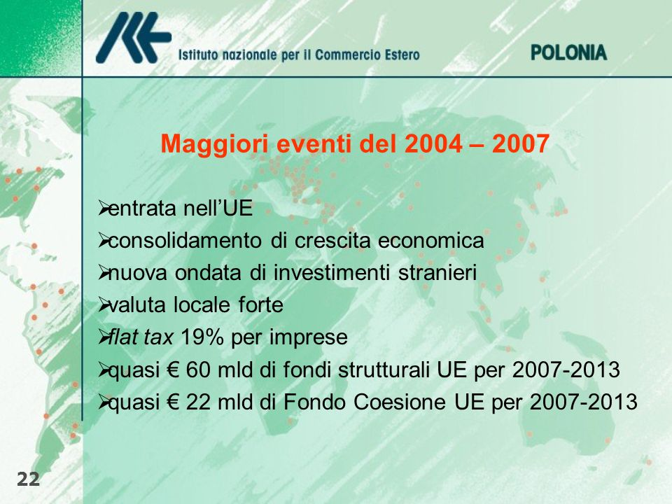 Maggiori eventi del 2004 – 2007 entrata nellUE consolidamento di crescita economica nuova ondata di investimenti stranieri valuta locale forte flat ta