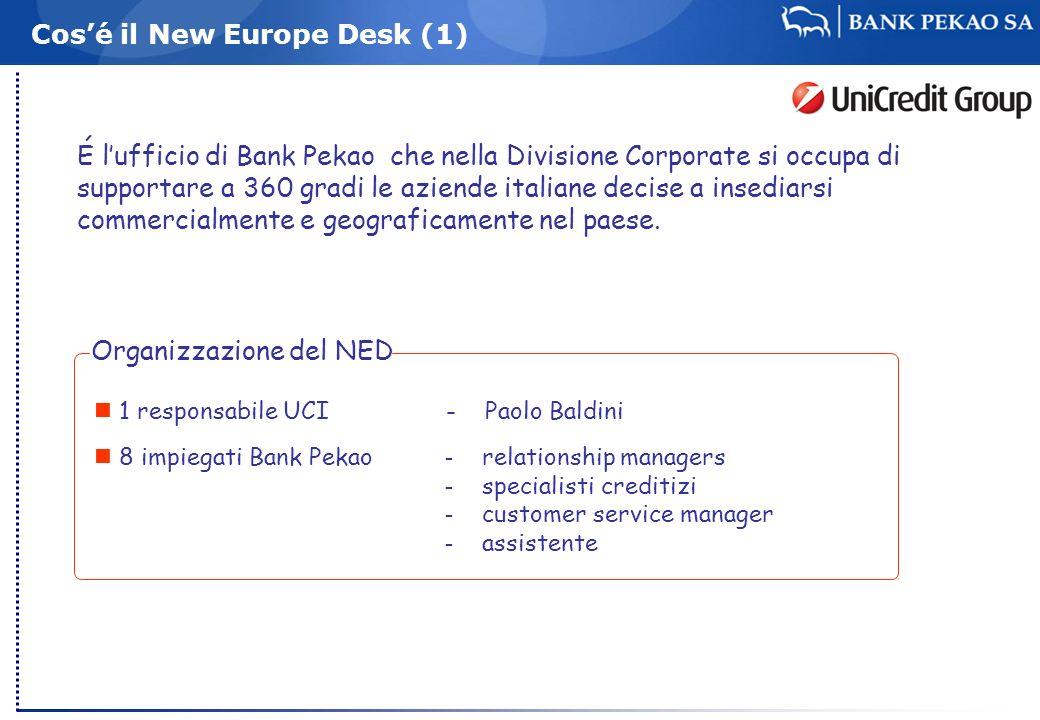 Cosé il New Europe Desk (1) É lufficio di Bank Pekao che nella Divisione Corporate si occupa di supportare a 360 gradi le aziende italiane decise a in