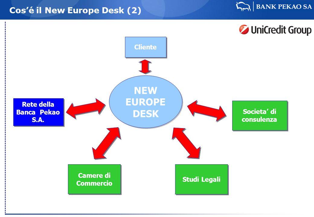 Cosé il New Europe Desk (2) Rete della Banca Pekao S.A. Societa di consulenza NEW EUROPE DESK Studi Legali Cliente Camere di Commercio
