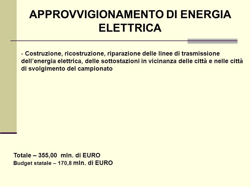 APPROVVIGIONAMENTO DI ENERGIA ELETTRICA - Costruzione, ricostruzione, riparazione delle linee di trasmissione dellenergia elettrica, delle sottostazio