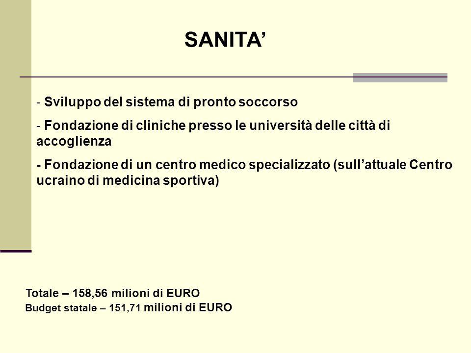 SANITA - Sviluppo del sistema di pronto soccorso - Fondazione di cliniche presso le università delle città di accoglienza - Fondazione di un centro me