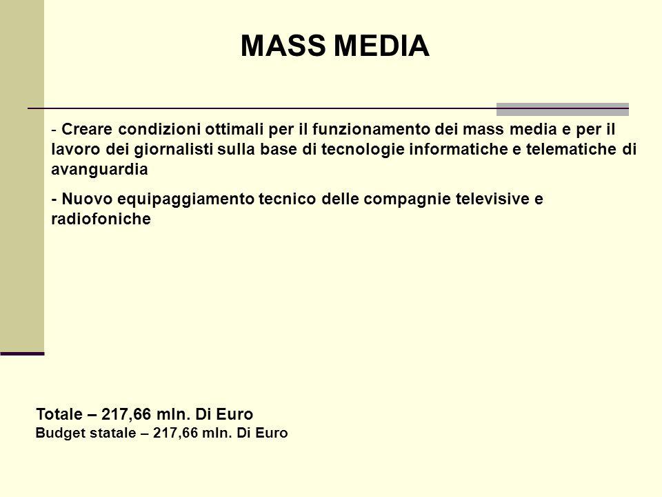 MASS MEDIA - Creare condizioni ottimali per il funzionamento dei mass media e per il lavoro dei giornalisti sulla base di tecnologie informatiche e te