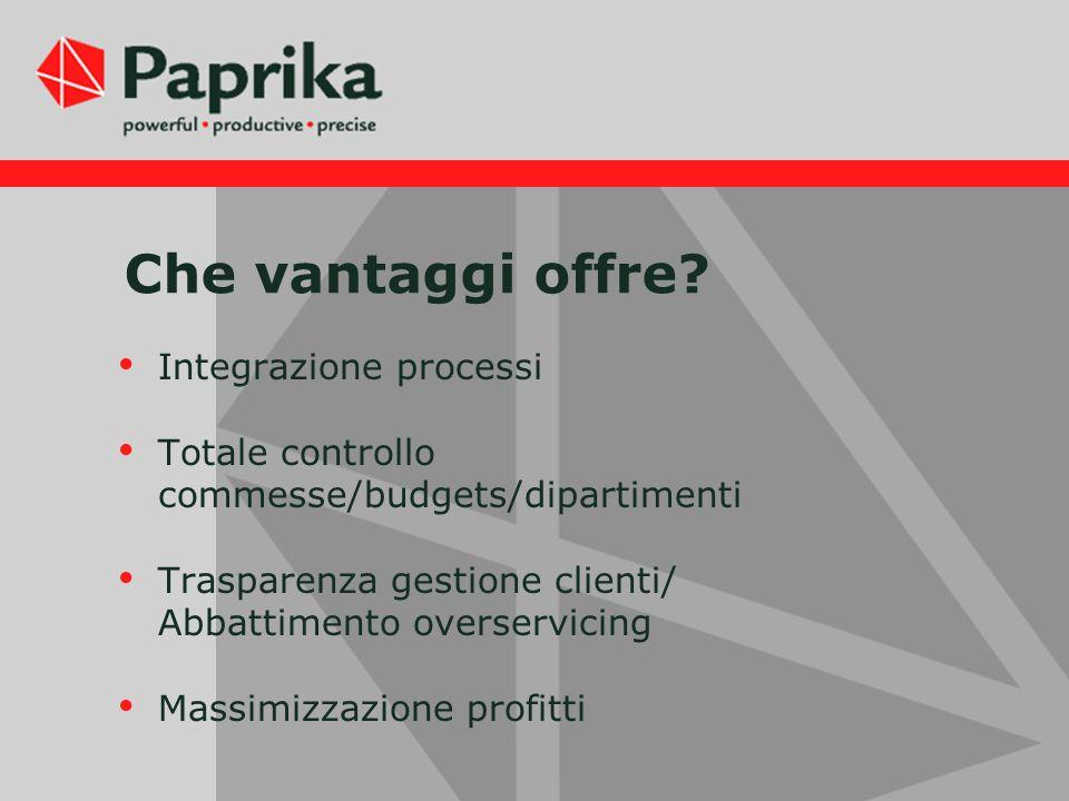 Che vantaggi offre? Integrazione processi Totale controllo commesse/budgets/dipartimenti Trasparenza gestione clienti/ Abbattimento overservicing Mass
