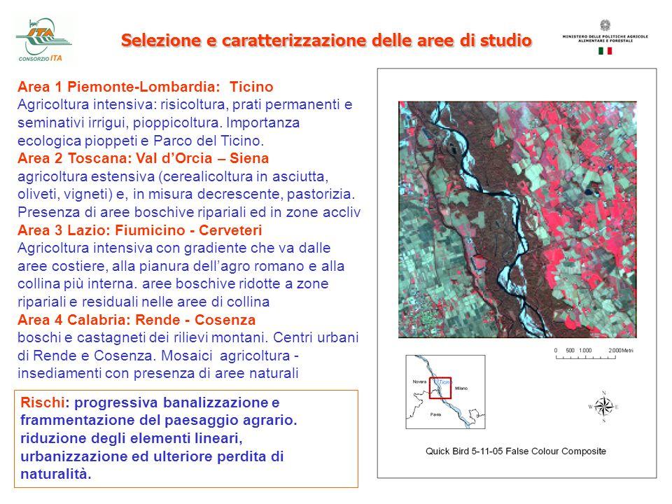 Selezione e caratterizzazione delle aree di studio Area 1 Piemonte-Lombardia: Ticino Agricoltura intensiva: risicoltura, prati permanenti e seminativi