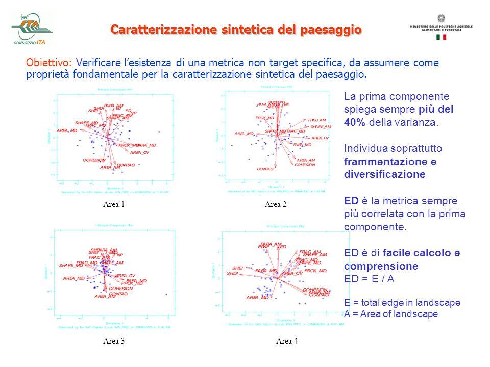 Area 1Area 2 Area 3Area 4 Caratterizzazione sintetica del paesaggio Obiettivo: Verificare lesistenza di una metrica non target specifica, da assumere
