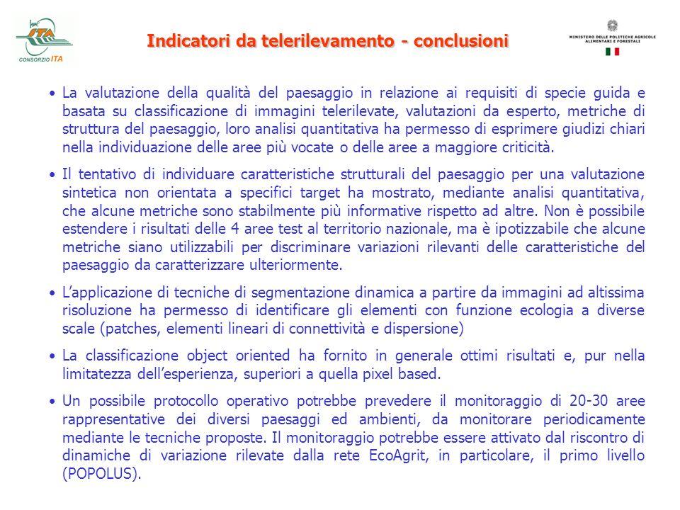 Indicatori da telerilevamento - conclusioni La valutazione della qualità del paesaggio in relazione ai requisiti di specie guida e basata su classific