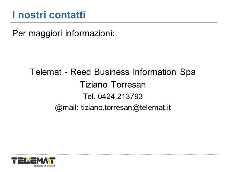 I nostri contatti Per maggiori informazioni: Telemat - Reed Business Information Spa Tiziano Torresan Tel.