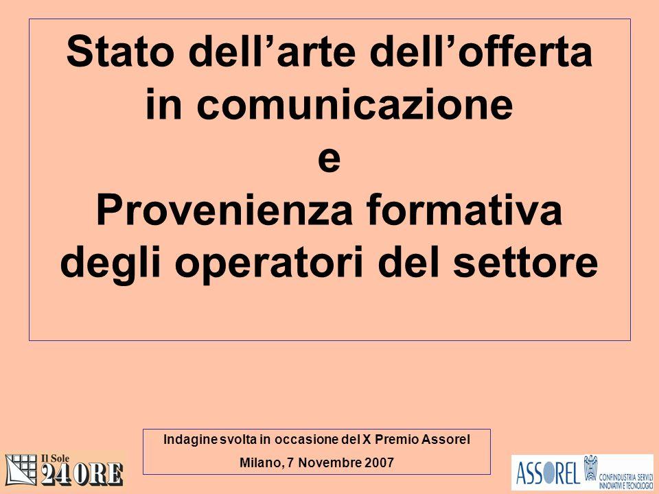 Stato dellarte dellofferta in comunicazione e Provenienza formativa degli operatori del settore Indagine svolta in occasione del X Premio Assorel Milano, 7 Novembre 2007