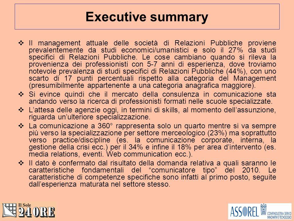 Executive summary Il management attuale delle società di Relazioni Pubbliche proviene prevalentemente da studi economici/umanistici e solo il 27% da studi specifici di Relazioni Pubbliche.