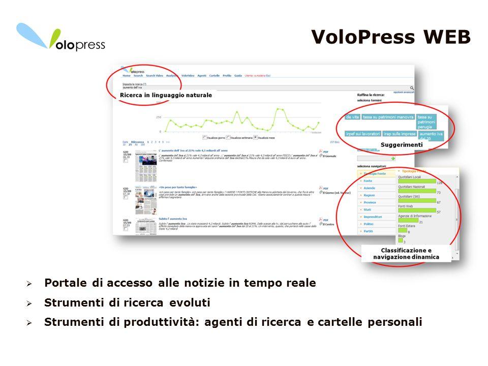 11 VoloPress WEB Portale di accesso alle notizie in tempo reale Strumenti di ricerca evoluti Strumenti di produttività: agenti di ricerca e cartelle p