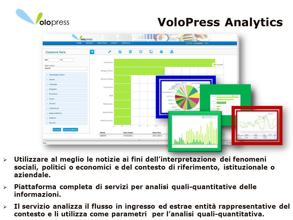 13 VoloPress Analytics Utilizzare al meglio le notizie ai fini dellinterpretazione dei fenomeni sociali, politici o economici e del contesto di riferi