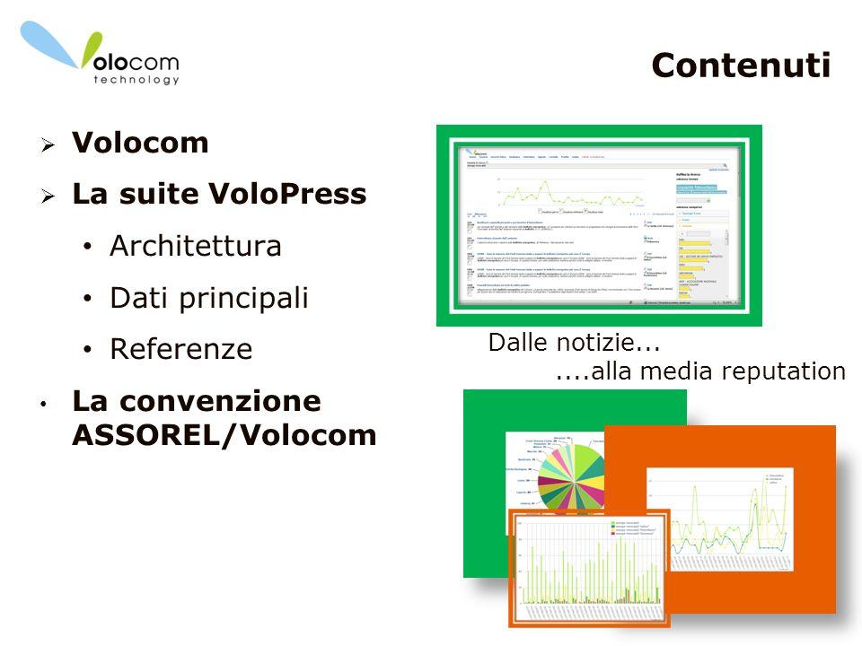2 Contenuti Volocom La suite VoloPress Architettura Dati principali Referenze La convenzione ASSOREL/Volocom Dalle notizie.......alla media reputation