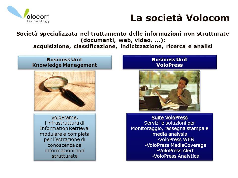 3 La società Volocom VoloFrame, VoloFrame, linfrastruttura di Information Retrieval modulare e completa per lestrazione di conoscenza da informazioni
