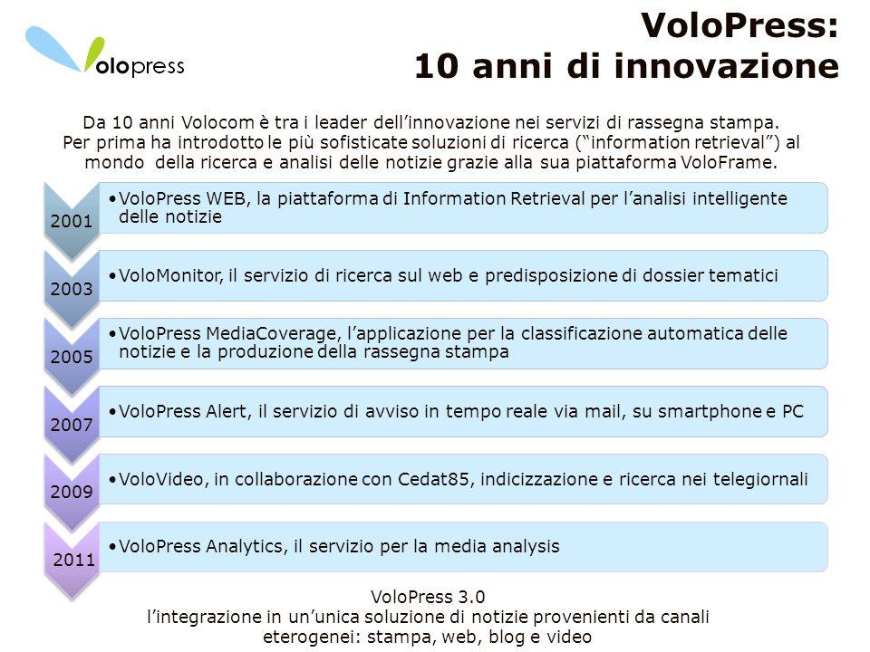 7 VoloPress: 10 anni di innovazione Da 10 anni Volocom è tra i leader dellinnovazione nei servizi di rassegna stampa. Per prima ha introdotto le più s