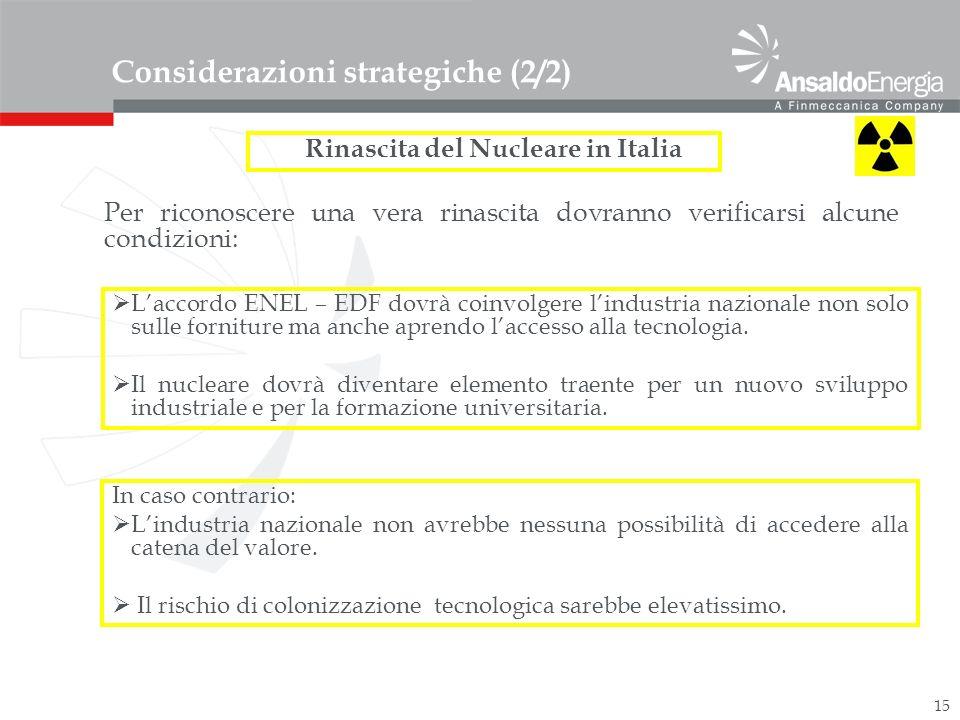 15 Considerazioni strategiche (2/2) Rinascita del Nucleare in Italia Laccordo ENEL – EDF dovrà coinvolgere lindustria nazionale non solo sulle forniture ma anche aprendo laccesso alla tecnologia.