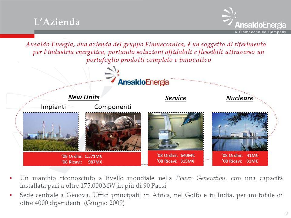 2 LAzienda New Units ImpiantiComponenti ServiceNucleare Un marchio riconosciuto a livello mondiale nella Power Generation, con una capacità installata pari a oltre 175.000 MW in più di 90 Paesi Sede centrale a Genova.