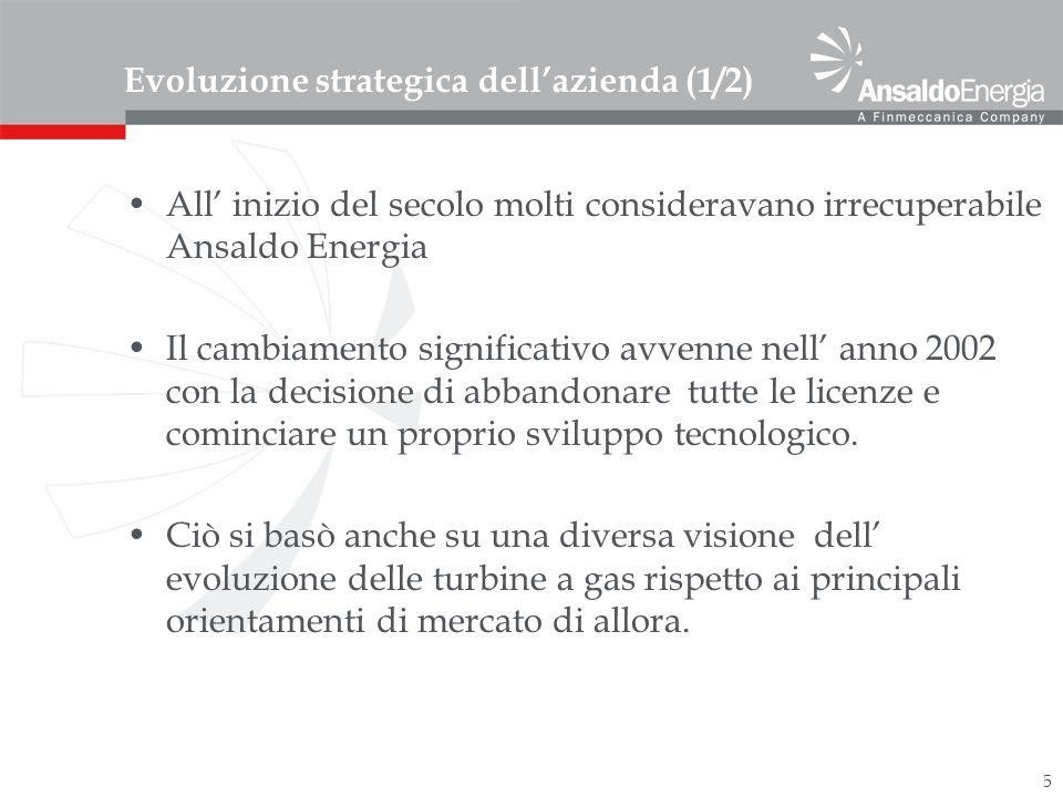 5 Evoluzione strategica dellazienda (1/2) All inizio del secolo molti consideravano irrecuperabile Ansaldo Energia Il cambiamento significativo avvenne nell anno 2002 con la decisione di abbandonare tutte le licenze e cominciare un proprio sviluppo tecnologico.