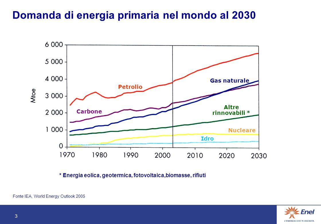 3 Domanda di energia primaria nel mondo al 2030 Fonte IEA, World Energy Outlook 2005 Carbone Petrolio Gas naturale Nucleare Idro Altre rinnovabili * * Energia eolica, geotermica, fotovoltaica,biomasse, rifiuti