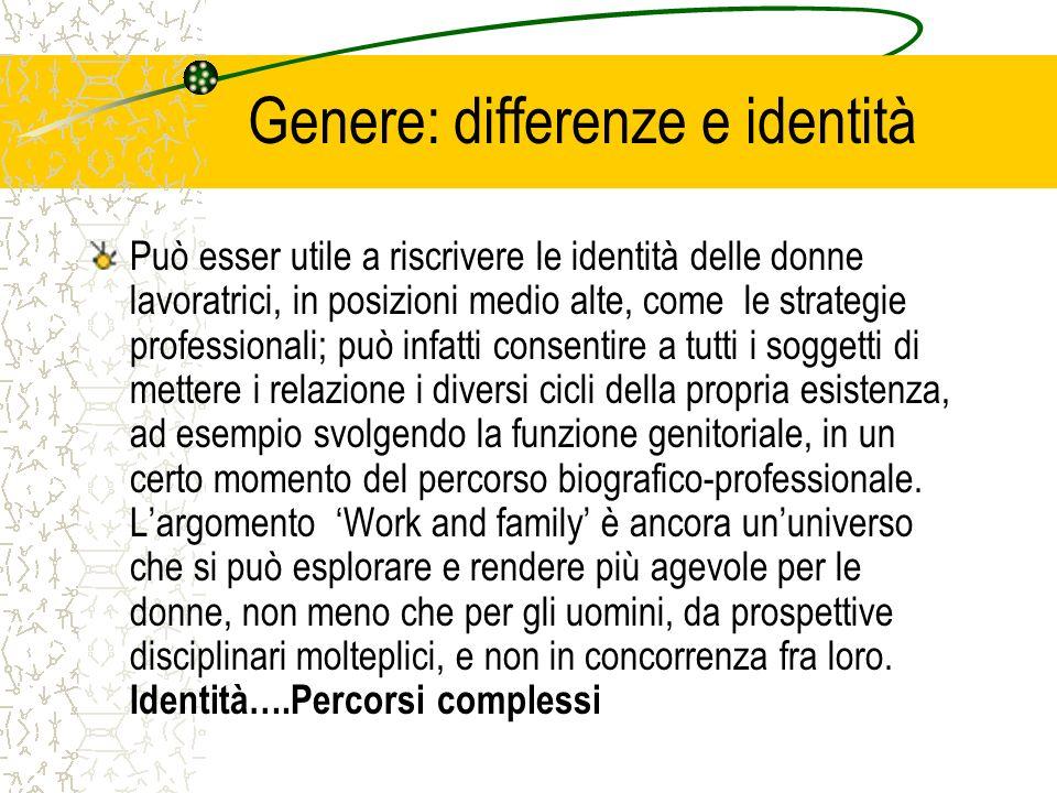 Genere: differenze e identità Può esser utile a riscrivere le identità delle donne lavoratrici, in posizioni medio alte, come le strategie professiona