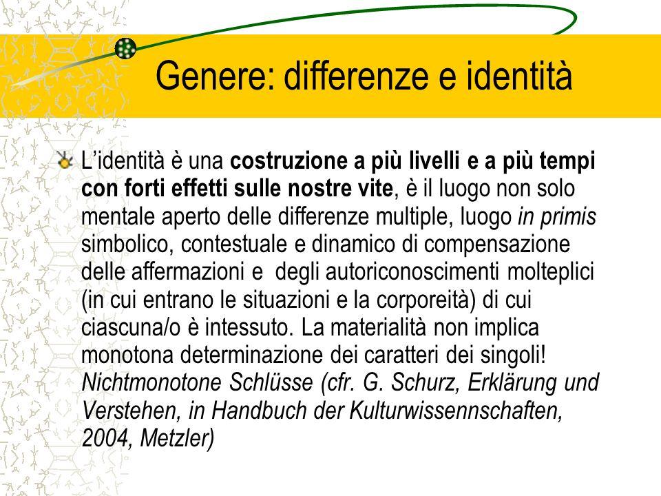 Genere: differenze e identità Lidentità è una costruzione a più livelli e a più tempi con forti effetti sulle nostre vite, è il luogo non solo mentale