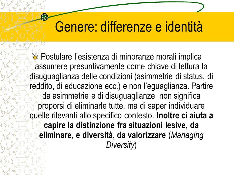 Genere: differenze e identità Postulare lesistenza di minoranze morali implica assumere presuntivamente come chiave di lettura la disuguaglianza delle