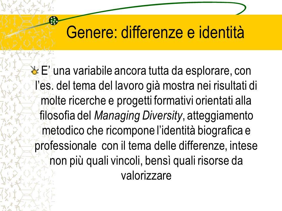Genere: differenze e identità E una variabile ancora tutta da esplorare, con les. del tema del lavoro già mostra nei risultati di molte ricerche e pro