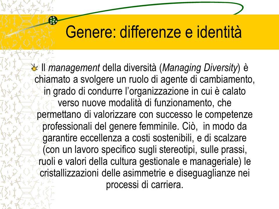 Genere: differenze e identità Il management della diversità ( Managing Diversity ) è chiamato a svolgere un ruolo di agente di cambiamento, in grado d