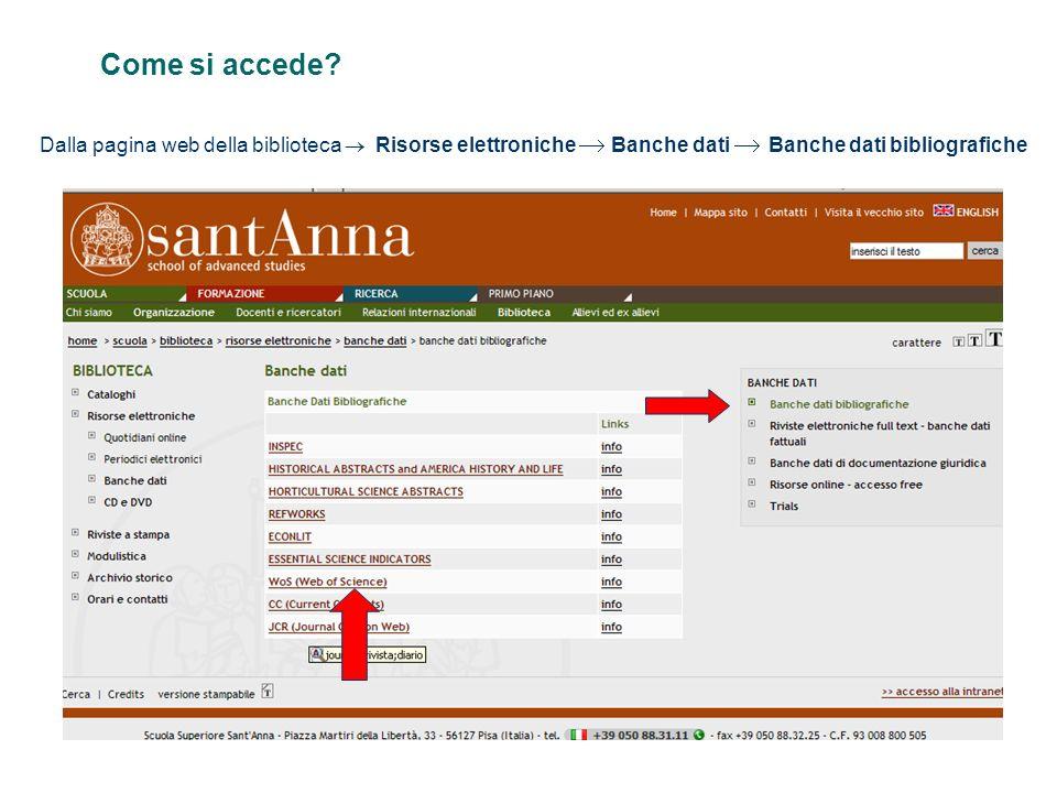 Come si accede? Dalla pagina web della biblioteca Risorse elettroniche Banche dati Banche dati bibliografiche