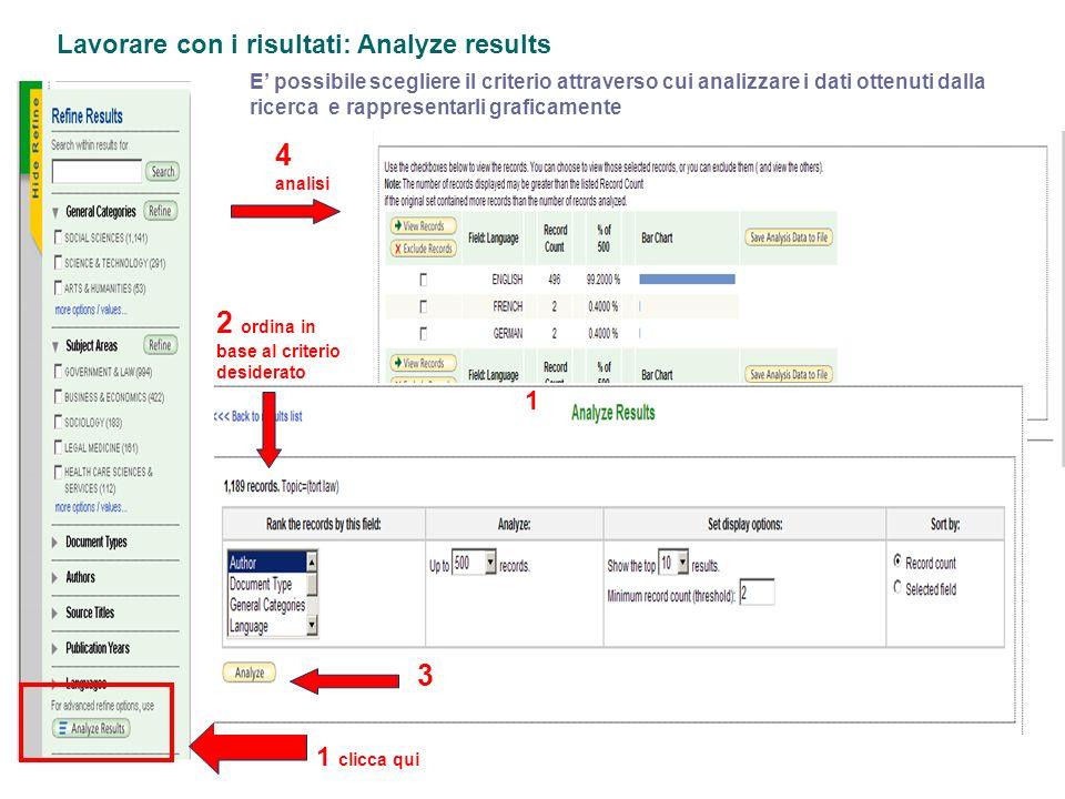 Lavorare con i risultati: Analyze results E possibile scegliere il criterio attraverso cui analizzare i dati ottenuti dalla ricerca e rappresentarli g