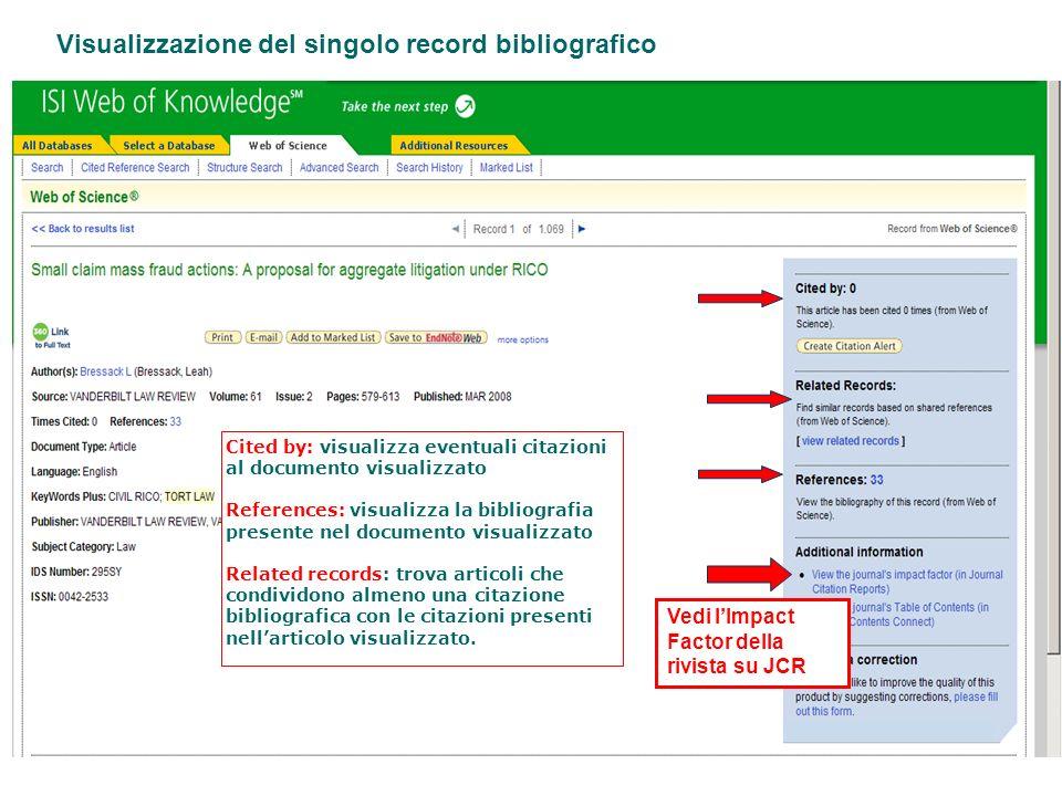 Visualizzazione del singolo record bibliografico Cited by: visualizza eventuali citazioni al documento visualizzato References: visualizza la bibliogr
