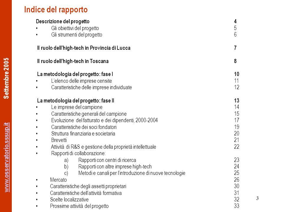www.osservatorio.sssup.itwww.osservatorio.sssup.it Settembre 2005 3 Indice del rapporto Descrizione del progetto4 Gli obiettivi del progetto5 Gli strumenti del progetto6 Il ruolo dellhigh-tech in Provincia di Lucca7 Il ruolo dellhigh-tech in Toscana8 La metodologia del progetto: fase I10 Lelenco delle imprese censite11 Caratteristiche delle imprese individuate12 La metodologia del progetto: fase II13 Le imprese del campione14 Caratteristiche generali del campione15 Evoluzione del fatturato e dei dipendenti, 2000-200417 Caratteristiche dei soci fondatori19 Struttura finanziaria e societaria20 Brevetti21 Attività di R&S e gestione della proprietà intellettuale22 Rapporti di collaborazione: a)Rapporti con centri di ricerca23 b)Rapporti con altre imprese high-tech24 c)Metodi e canali per lintroduzione di nuove tecnologie25 Mercato26 Caratteristiche degli assetti proprietari30 Caratteristiche dellattività formativa31 Scelte localizzative32 Prossime attività del progetto33