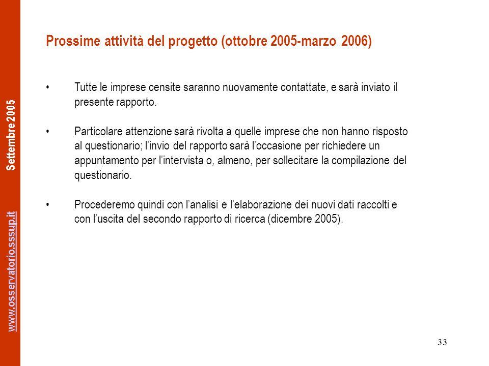 www.osservatorio.sssup.itwww.osservatorio.sssup.it Settembre 2005 33 Prossime attività del progetto (ottobre 2005-marzo 2006) Tutte le imprese censite saranno nuovamente contattate, e sarà inviato il presente rapporto.