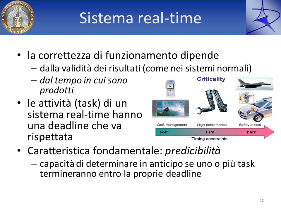 Sistema real-time la correttezza di funzionamento dipende – dalla validità dei risultati (come nei sistemi normali) – dal tempo in cui sono prodotti l