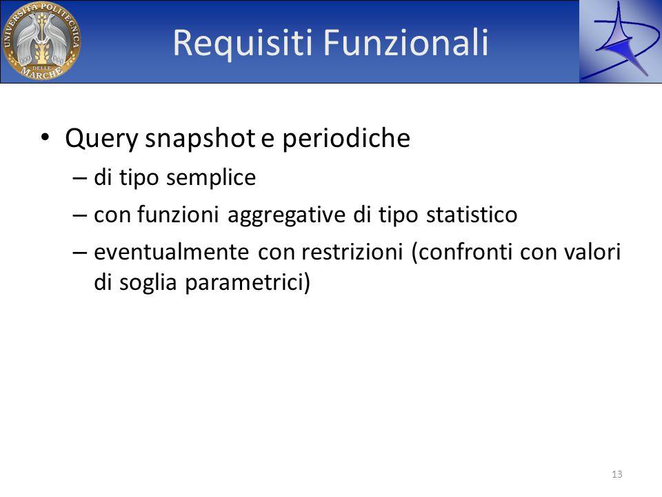 Requisiti Funzionali Query snapshot e periodiche – di tipo semplice – con funzioni aggregative di tipo statistico – eventualmente con restrizioni (con