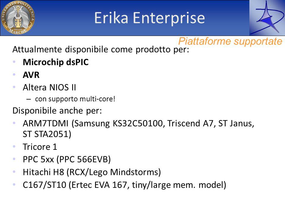 Erika Enterprise Attualmente disponibile come prodotto per: Microchip dsPIC AVR Altera NIOS II – con supporto multi-core! Disponibile anche per: ARM7T