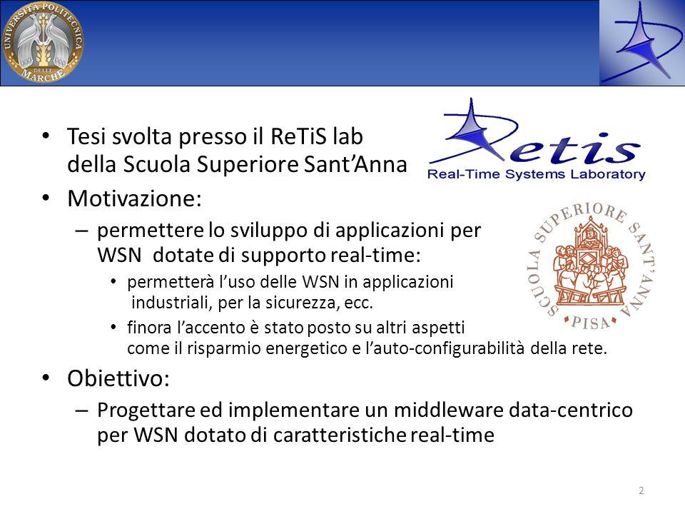 Tesi svolta presso il ReTiS lab della Scuola Superiore SantAnna Motivazione: – permettere lo sviluppo di applicazioni per WSN dotate di supporto real-