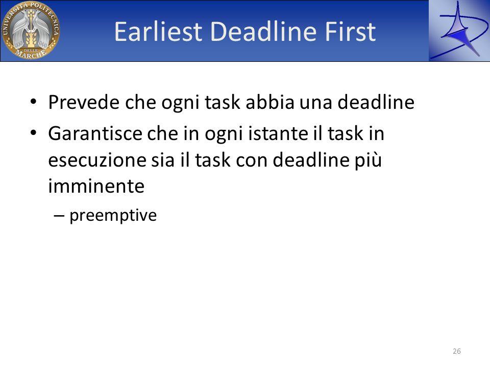 Earliest Deadline First Prevede che ogni task abbia una deadline Garantisce che in ogni istante il task in esecuzione sia il task con deadline più imm