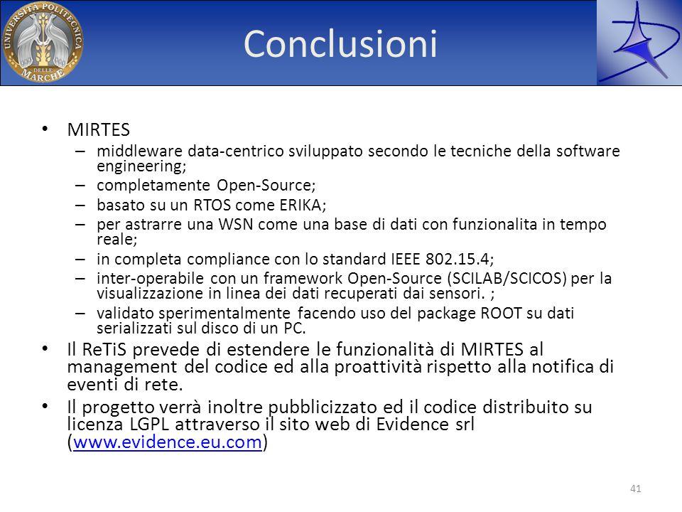 Conclusioni MIRTES – middleware data-centrico sviluppato secondo le tecniche della software engineering; – completamente Open-Source; – basato su un R