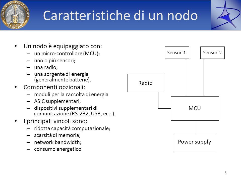 Wireless Sensor Network Peculiarità delle WSN – flessibilità – pervasività – costo ridotto Applicazioni: – militari – ambientali – medico-sanitarie – domestiche – industriali e commerciali 6