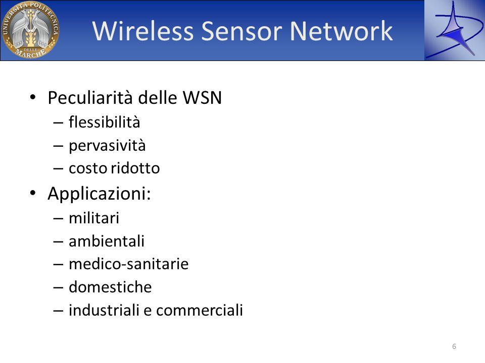 Wireless Sensor Network Peculiarità delle WSN – flessibilità – pervasività – costo ridotto Applicazioni: – militari – ambientali – medico-sanitarie –