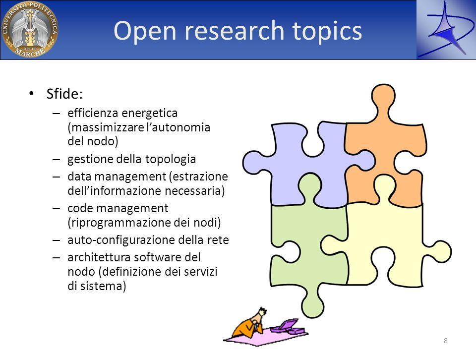 Open research topics Sfide: – efficienza energetica (massimizzare lautonomia del nodo) – gestione della topologia – data management (estrazione dellin