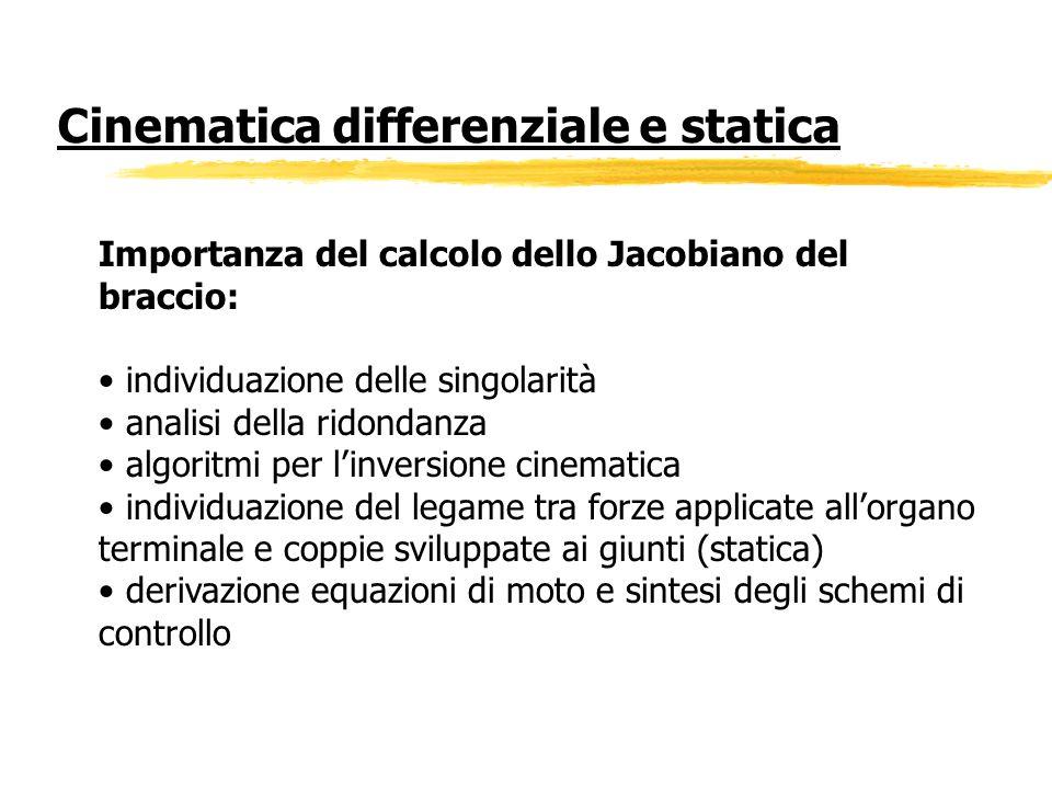 Importanza del calcolo dello Jacobiano del braccio: individuazione delle singolarità analisi della ridondanza algoritmi per linversione cinematica ind