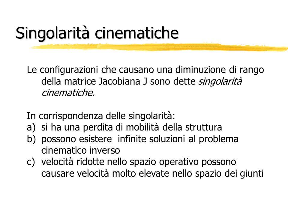Singolarità cinematiche Le configurazioni che causano una diminuzione di rango della matrice Jacobiana J sono dette singolarità cinematiche. In corris