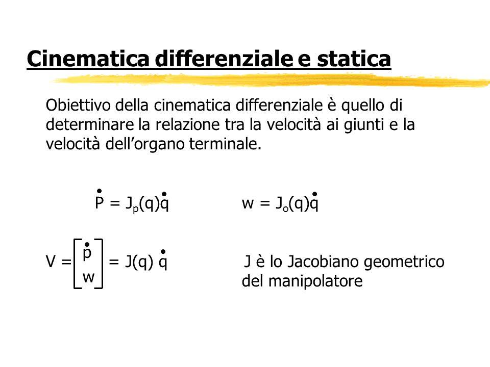 Obiettivo della cinematica differenziale è quello di determinare la relazione tra la velocità ai giunti e la velocità dellorgano terminale. P = J p (q