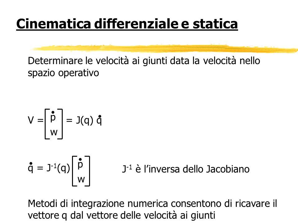 Determinare le velocità ai giunti data la velocità nello spazio operativo V = = J(q) q q = J -1 (q) Metodi di integrazione numerica consentono di rica