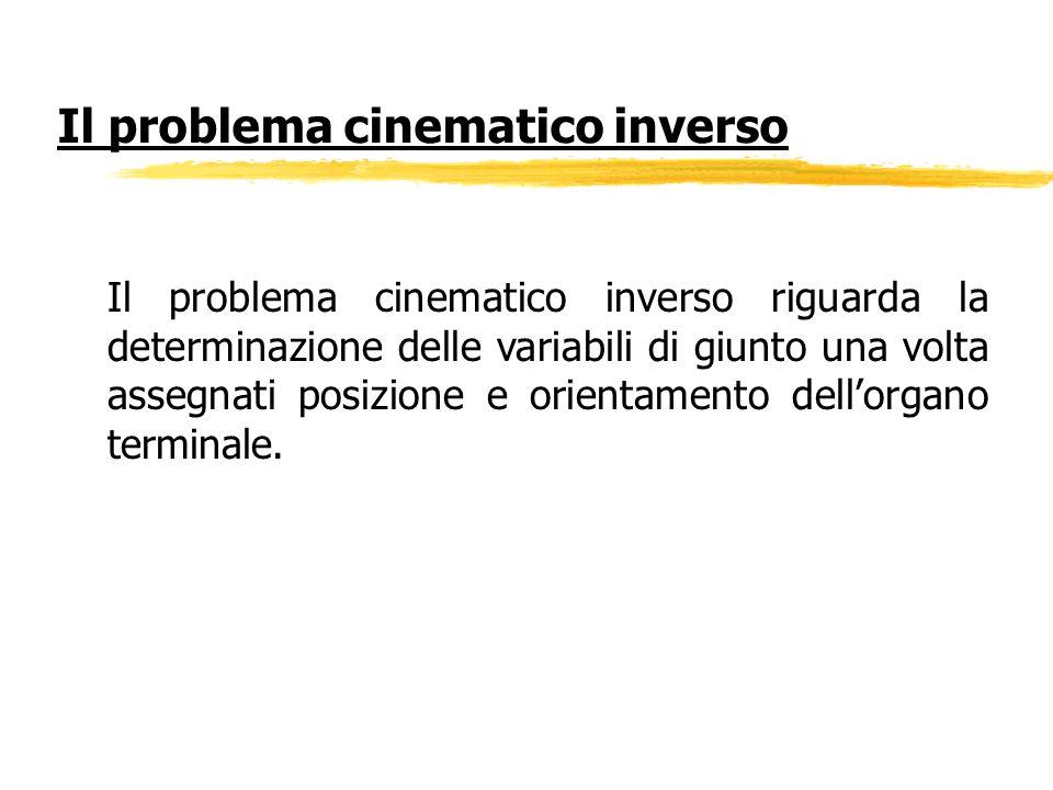 Il problema cinematico inverso riguarda la determinazione delle variabili di giunto una volta assegnati posizione e orientamento dellorgano terminale.